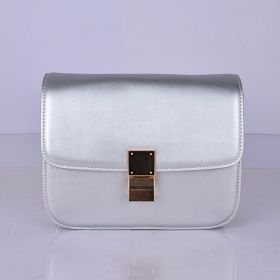 Celine Sought-After Classic Three Compartments Brass Clasp Lock Detail Ladies Calfskin Box Bag Silver
