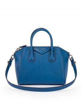 Top Style Givenchy Antigona Oversized Top Zipper Triangular Logo Patch Small Blue Leather Handbag For Girls