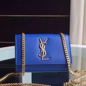 High Quality Saint Laurent Kate Monogram Yellow Brass Chain Blue Leather Fashion Flap Bag Replica