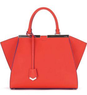 Fendi Trois-Jour Petite Red Leather Bicolor Tote Bag Celebrity Style 2018 Latest Design America Review