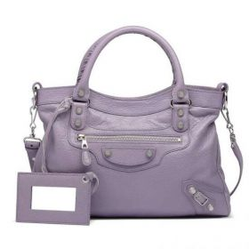 Fashion Balenciaga Oversized Silver Studs Giant Town Curved Top Buckle & Belt Trimming Ladies Glycine Purses Replica