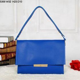 Hot Selling Celine Blade Square Slip-over Flap Logo-engraved Push-lock Closure Blue Calfskin Messenger Bag