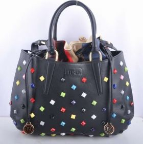 Fendi B Fab Black Leather With Colorful Decorated Large Bag Drawstring Closure On Sale Dubai