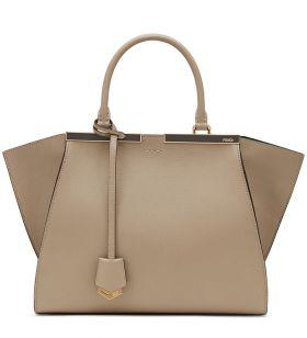 Fendi 3Jours Satchel Bag Taupe Leather Black Enamel Bar Enough Space Women Birthday Gift