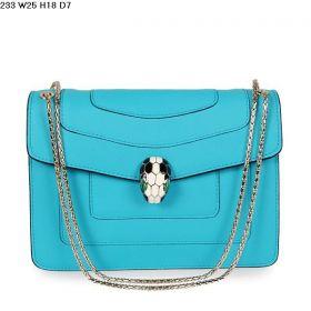 Cheapest Bvlgari Serpenti Light Blue Calfskin Leather 2-Tone Enamel Snake Head Flap Shoulder Bag For Womens