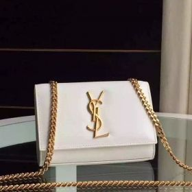 AAA Quality Saint Laurent Kate Yellow Gold Plated Chain Strap Small White Leather Womens Monogram Bag