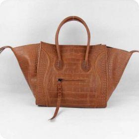 Celine Luggage Phantom Leather Straps Trimming Square Bottom Womens Light Coffee Croco Leather Purses Medium