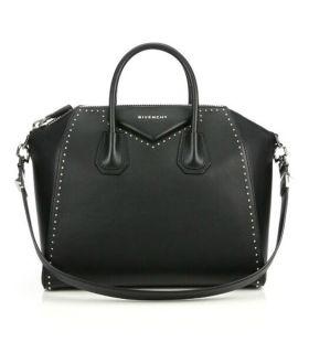 Good Price Givenchy Antigona Gracile Handles Silver Studs Edges Womens Medium Black Leather Zipper Handbag