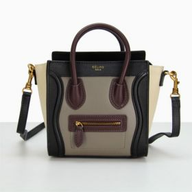 Celine Luggage Wine Top Handles White Sides Motif  Brass Hardware Womens Leather Small Tote Bag Black/Grey