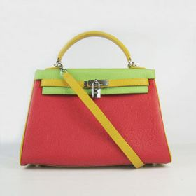 Hermes Kelly Red & Green Togo Leather Bag Yellow Top Handle Silver Buckle 32cm Dating Gift Review