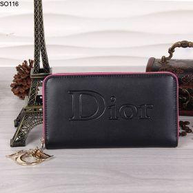Cost-Effective Dior  Zipper Around Black Wallet  Golden Logo Trims For Her US