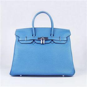 Hermes Birkin Blue Togo Leather Handbag Silver Lock Buckle Copy Fashion Design Singapore Review