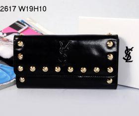 Yves Saint Laurent Ladies Long Black Leather YSL Logo Print Flap Wallet Online Shopping