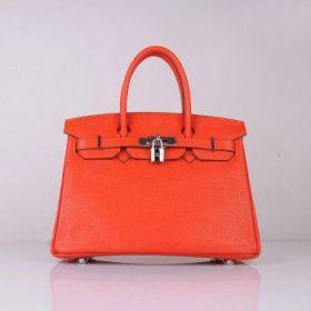 Clone Hermes Birkin 30cm Bright Orange Togo Leather Handbag Silver Lock 2018 Street Fashion Sale