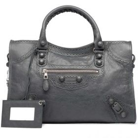 Balenciaga Giant City Leather Covered Metal Studs Ladies Gris Tarmac Brogues Tote Bag For Winter
