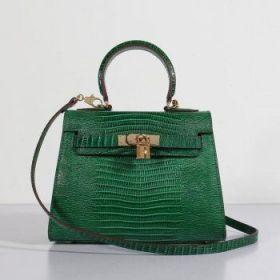 Hermes 25cm Kelly Green Lizard Leather Bag Gorgeous Gold-plated Lock Formal Dinner Online Shop UK
