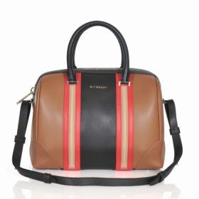 Givenchy Lucrezia Fashion Red Trimming Band Top Handles Ladies Brown & Black Leather Colorblock Shoulder Bag