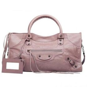 High Quality Balenciaga Part Time Leather Zip Pull Buckle & Belt Trimming Womens Parme Studded Tote Bag