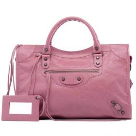 Women's Rose Leather Balenciaga Classic City Bags Leather Tassels Trimming Middle Size Hot Selling