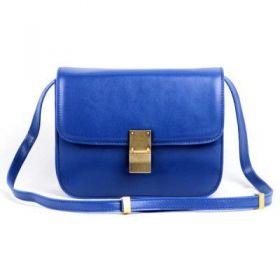 Medium Classic Box Celine Logo-engraved Brass Lock Curved Base Ladies Sapphire Blue Saddle Bag Replica