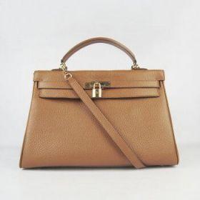 Hermes Kelly 35cm Fake Vintage Style Light Coffee Togo Leather Handbag Gold-plated Buckle 2018