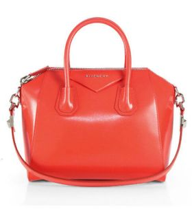 Womens Fashion Trends Givenchy Antigona Studded Shoulder Strap Scarlet Leather Top-Handles Fake Satchel Bag Small
