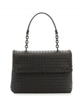 Hot Selling Bottega Veneta Olimpia Charcoal Woven Leather Medium Chain Tote Bag For Ladies Replica
