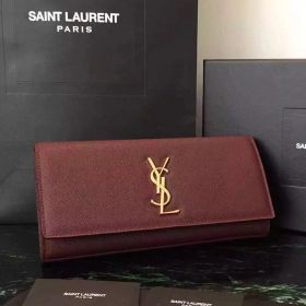 Burgundy Saint Laurent Yellow Gold Monogram Buckle Ladies Kate Textured Leather Clutch Bag For Evening Party