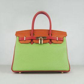 Hermes Birkin Green/Red/Orange Togo Leather Handbag Golden Lock Buckle 30cm Summer Collection Travel