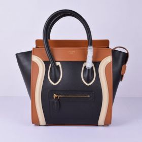 Unique Style Celine White Leather Detail Double Top Handles Brown-Black Womens Leather Medium Luggage Tote
