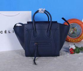 A-shaped Celine Navy Blue Luggage Oversized Base Braided Tassel Zipper Womens Supple Calfskin Fake Tote
