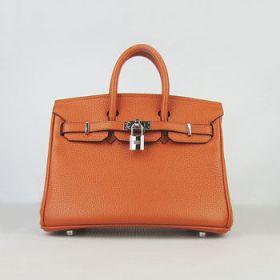 Modern Hermes Birkin 25cm Orange Leather Silver Lock Handbag Valentine Gift For Lady Sale US
