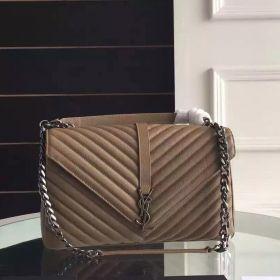 Best Saint Laurent Large College Y-shaped Flap Cover Chain-Leather Handle Female Havane Goatskin Shoulder Bag
