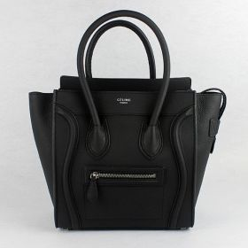 Chic Celine Medium Luggage Winding Trimming Band Silver Zipper Closure Black Grained Leather Ladies Tote Bag