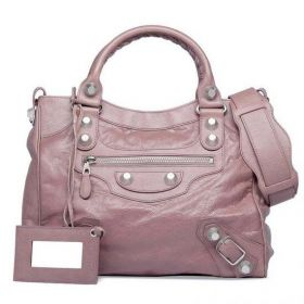 Spring New Balenciaga Giant 21 Female Parme Lambskin Silver Studs Top-handles Zipper Velo Shoulder Bag