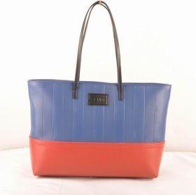 Fendi Pequin Blue Soft Calfskin Leather Black Handle Tote Bag Chic Style Valentine Gift London