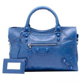 Balenciaga Giant City Wide Shoulder Strap Silver Hardware Ladies Brogues Studs Tote Bag Bleu Cobalt Lambskin