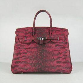 Hermes Birkin Red Lizard Pattern Silver Buckle 30CM Top Handle Handbag Gift On Mother's Day