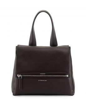 Best Sale Givenchy Pandora Silver Logo Signature Push-lock Closure Black Leather Small Clone Tote Bag