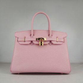 Hermes Birkin Pink Togo Leather Handbag 30cm Golden Lock With Key Valentine Gift For Girls