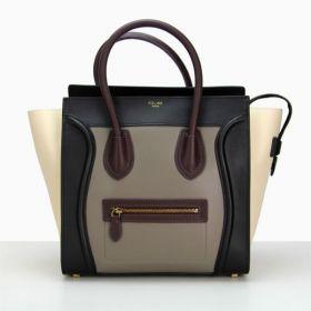 Fashion Celine Luggage Yellow Gold Logo Embossed Wine Leather Detail Womens Top-handle Handbag Black/White/Grey