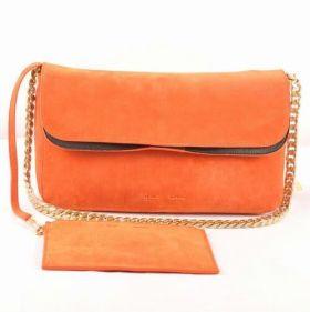 Celine Gourmette Detachable Zip Pocket Brass Chain Arm-carry Strap Female Suede Leather Shoulder Bag Orange