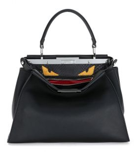 Wholesale Fendi Peekaboo Medium Black Monster Eyes Interior Satchel Bag Silver Buckle Malaysia Price