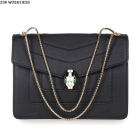 Women's Spring/Autumn Bvlgari Serpenti GM Snake Head Button Snap Black Calfskin Leather Flap Handbag 35106