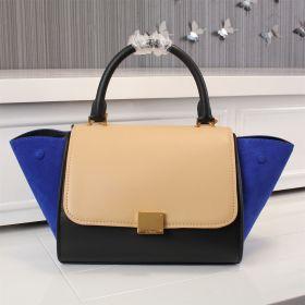 Large Celine Trapeze Rounded Top Handle Square Pushlock Suede & Smooth Leather Shoulder Bag Beige/Black/Blue