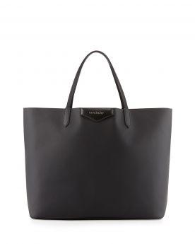 High Quality Givenchy Antigona Slim Flat Handles Peacock-Print Lining Large Black Faux-saffiano Tote Bag