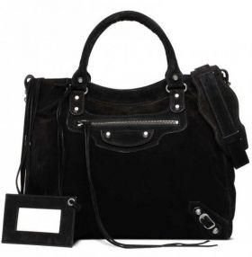 Latest Balenciaga Baby Daim Velo Silver Hardware Front Zipper Pocket Female Suede Leather Studded Totes Anthracite