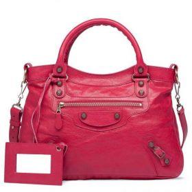 Balenciaga Giant 12 Town Classic Rose Gold Studs Front Zipper Pocket Womens Rose Thulian Lambskin Totes