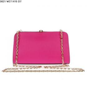 High Quality Bvlgari Serpenti Famed Golden Framed Ladies Fuschia Leather Chain Strap Clutch Bag