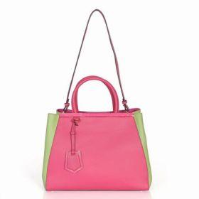 Fendi Petite 2Jours Pink & Green Canvas Top-handle Bag Long Shoulder Belt Valentine Gift For Lady